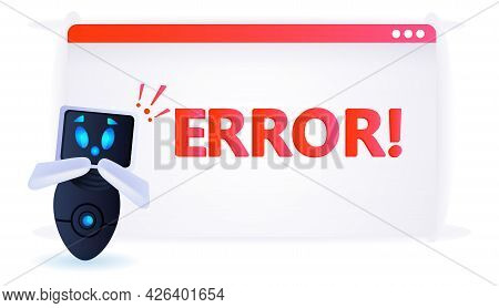 Frustrated Robot With Exclamation Marks Error Artificial Intelligence Failures Overloaded Concept