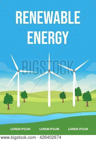 Renewable Energy Poster Flat Vector Template. Electricity Generation. Brochure, Booklet One Page Con