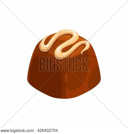 Candy Chocolate, Sweet Dessert Cake Food, Truffle With Caramel, Vector Isolated Icon. Milk Or Dark B