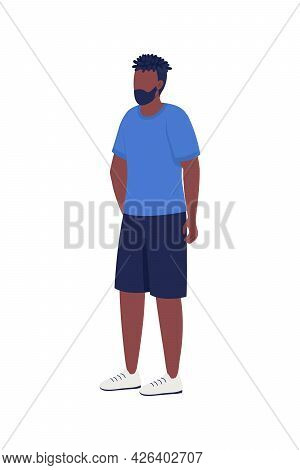 Bearded Man Waiting In Queue Semi Flat Color Vector Character. Standing Figure. Full Body Person On
