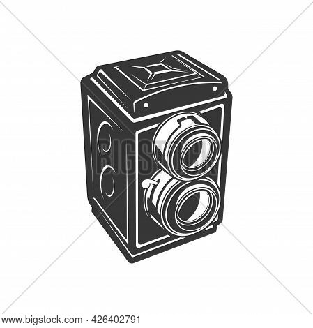 Old Photo Camera Or Film Reels And Strips Box Isolated Con. Vector Film Reel Box Or Analog Photocame