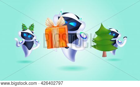 Robots With Gift Box In Fir Tree Festive Hat Robotic Characters Celebrating Winter Holidays Artifici