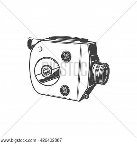 Vintage Cam, Cinema Films Old Projector Isolated Vintage Camera Monochrome Icon. Vector Retro Movie