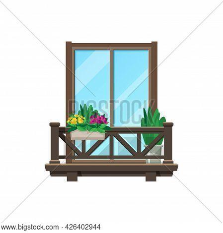 Balcony Window, House Building Facade With Porch, Vector Wood Veranda Or Terrace. Apartment Vintage