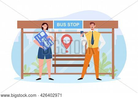 Male And Female Characters Are Using Wireless Travel Card. Concept Of Public Transport Pass, Unlimit