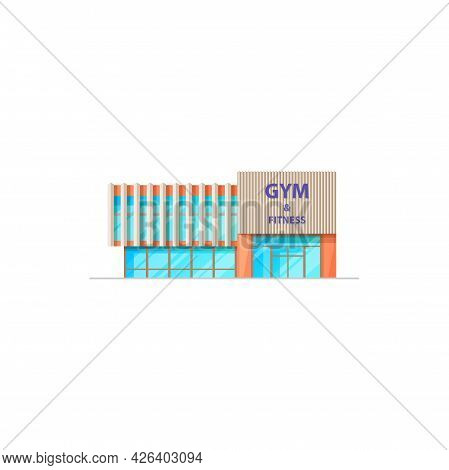 Fitness Center And Gym Building, Sport Training And Workout Architecture Vector Isolated Facade. Spo