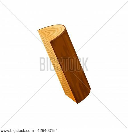 Oak Or Pine Timber, Lumber Stick Isolated Flat Cartoon Icon. Vector Fireplace Heating Material, Hard