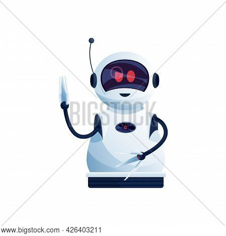 Digital Robot With Hands Loaders, Antenna On Head Isolated Plastic Hi-tech Character. Vector Android
