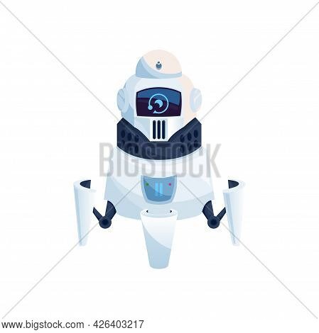 Humanoid Robot Isolated Futuristic Cyborg Digital Character With Screen Display On Head. Vector Mode
