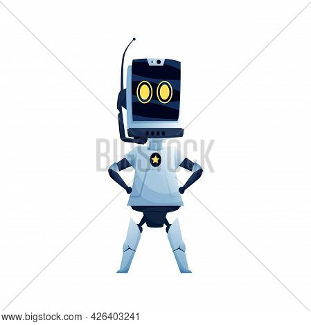 Woman Robot, Big Eyes And Antenna In Head, Female Robotic Character In White Color Isolated. Vector