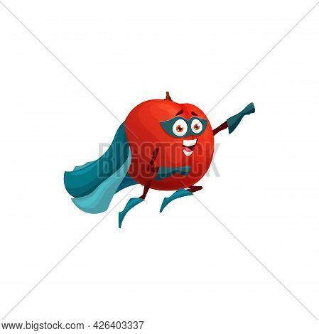 Apple Superhero Fruit Cartoon Character, Vector Food In Super Hero Costume And Mask. Happy Apple Fru