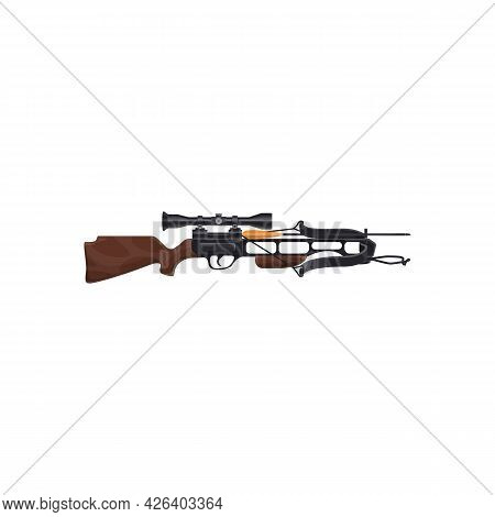 Optical Weapon, Sniper Rifle Isolated Firearm Realistic Icon. Vector Telescopic Gun, Hunting Equipme