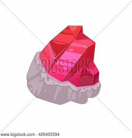 Red Magic Crystal, Precious Rock Or Gem Isolated Mineral Crystalline. Vector Semiprecious Gemstone,