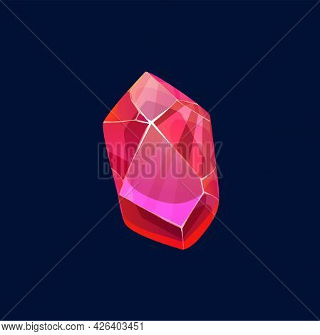 Red Magic Crystal, Gem Vector Icon Semiprecious Or Precious Raw Rock, Isolated Mineral Crystalline S