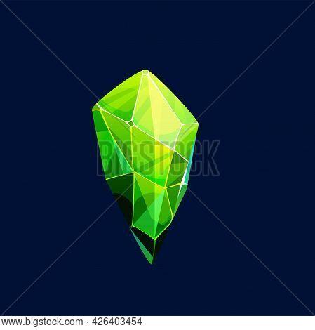 Green Magic Crystal Vector Icon, Rock, Gem Stone. Precious Or Semiprecious Emerald Gemstone, Organic