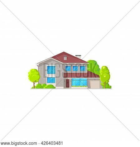 Real Estate Private Building, Villa, Cottage Isolated Cartoon Icon. Vector Residential Home, Village