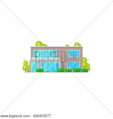 Patio Facade Exterior Isolated Chalet Building, Two-storied House Realistic Icon. Vector Country Vil