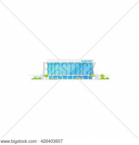 Airport Terminal Building, Passenger Planes And Cargo Aircrafts Isolated Icon. Vector Concourse Airp