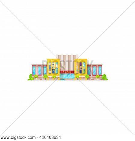 Cinema Building Icon, Movie Theater Entrance Exterior And Front Facade, Vector. Modern Cinema, City