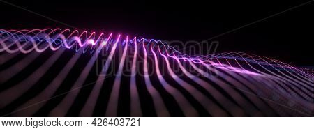 Abstract 3d Illustration Glow Pink Blue Canvas Wireframe For Business Technology Background. 3d Rend