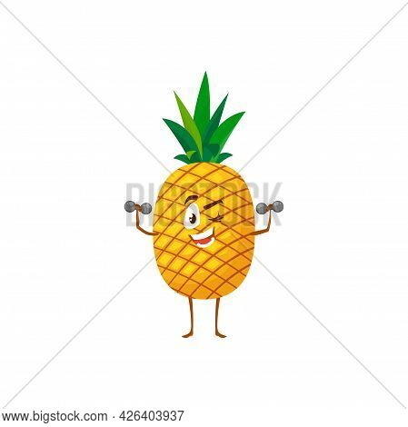 Cartoon Pineapple Fruit Workout With Dumbbells Vector Icon, Funny Sportsman Character Doing Sport Ex