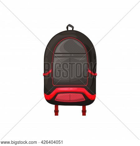 Kids Schoolbag Isolated Vector Icon, Cartoon Rucksack Of Black Color With Red Decorative Elements. S