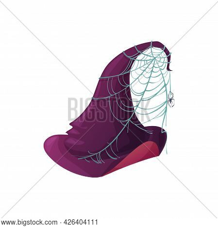 Cartoon Witch Hat Vector Icon, Purple Magician Headwear With Brims And Crown Wrapped With Cobweb And