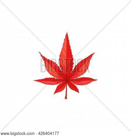 Autumn Maple Leaf Vector Icon, Cartoon Foliage, Fallen Tree Leaf Of Red Color, Natural Design Elemen
