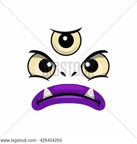 Monster Face Cartoon Vector Icon, Creepy Creature, Emotion With Three Angry Eyes And Toothy Mouth Wi