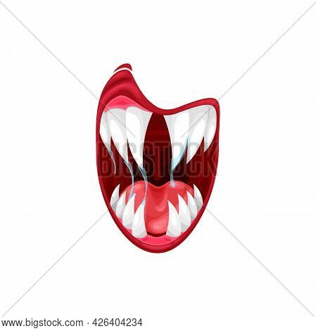 Monster Mouth Vector Icon, Cartoon Creepy Yelling Alien Jaws With Saliva Dripping From Long Sharp Te