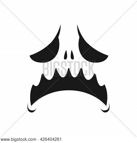 Sad Monster Face Vector Icon, Scary Or Evil Emoji With Unhappy Creepy Eyes And Yelling Open Mouth. G