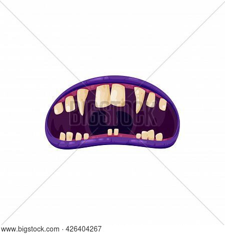 Vampire Mouth With Fangs Vector Icon. Cartoon Monster Roar Scary Jaws With Long Pointed Teeth, Open