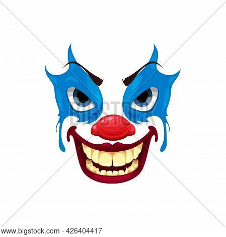 Scary Clown Face Vector Icon, Halloween Funster Character. Emoticon Mask With Makeup, Red Nose, Angr