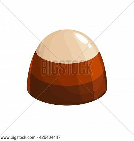 Chocolate Candy Vector Icon. Sweet Dessert, Choco Candy Made Of Dark, Bitter Or Milk And White Choco