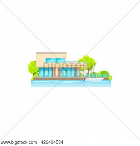 Home On Seaside, Ocean, Lake Or River Coast, Trees And Boat On Water Isolated. Vector Private Proper