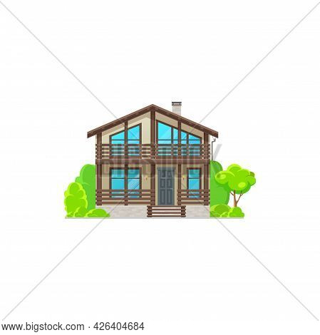 Modern House With Windows, Wooden Chalet Or Villa Flat Cartoon Icon. Vector Real Estate Building On