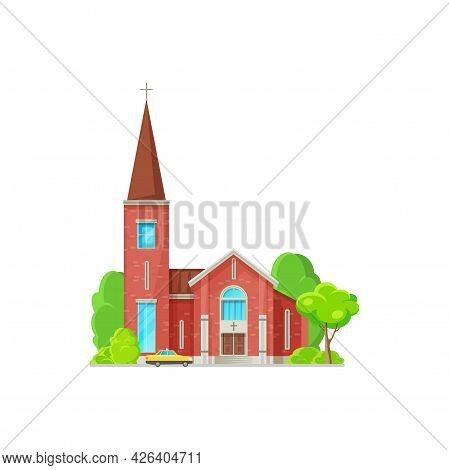 Tower Of Evangelical Church Isolated Catholic Architecture Building Of Red Brick, Orthodox Cross On