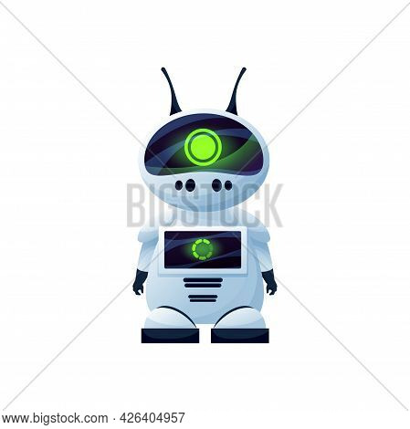 Artificial Intelligence Digital Robot With Antenna Isolated Icon. Vector Humanoid Robotic Automation
