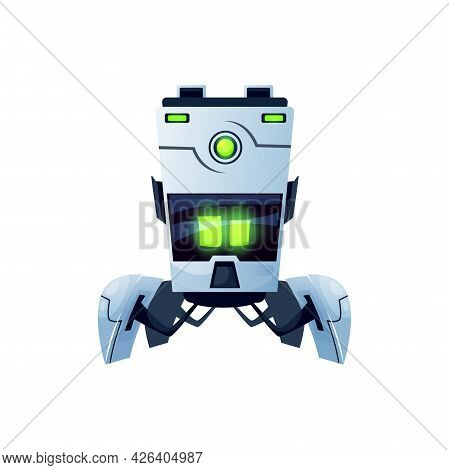 Robot Cartoon Character With Flexible Parts Isolated Realistic Icon. Vector Futuristic Ai Robot With