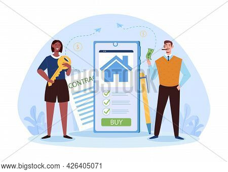 Real Estate Mobile Application For Seller And Buyer. Female Realtor Holding Key, Male Buyer Is Stand