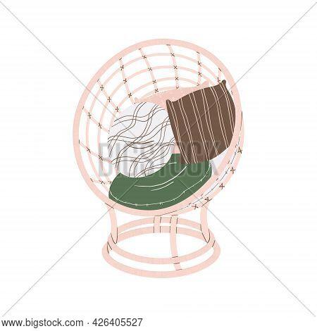 Clip Art Of Cozy Wicker Chair With Pillow In Scandinavian Style. Vector Clip Art Of Wicker Armchair