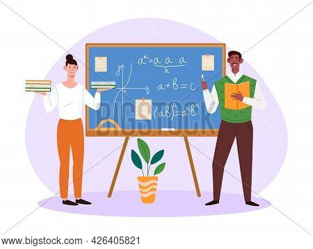 Male Professor Is Giving Math Lecture At University. Concept Of Math Education With Students Studyin