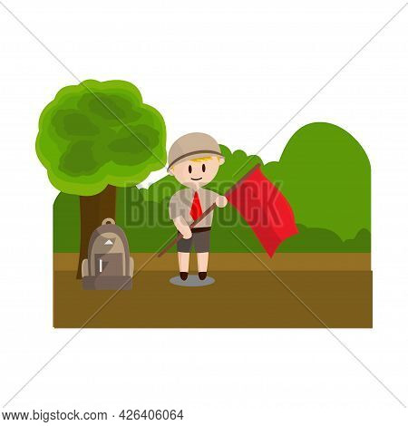 Boy Scout Character In Uniform Standing Hold Flag Design Illustration