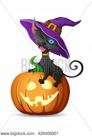 Black Cat In Witch Hat Sits On Halloween Pumpkin And Shows Its Tongue. Vector Illustration For Hallo