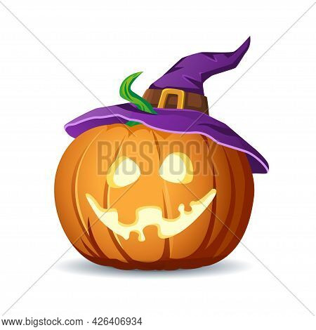 Halloween Scary Pumpkin In Witch Hat. Jack Lantern With Creepy Toothy Smile And Fiery Glow Inside. T