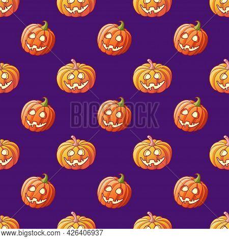 Halloween Glowing Pumpkins Seamless Pattern On Violet Background. Funny Cartoon Halloween Jack Lante