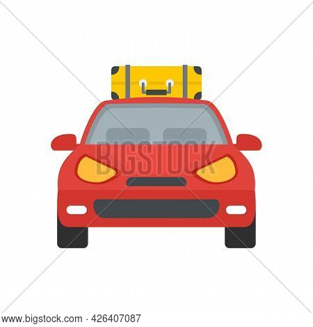 Front View Travel Car Icon. Flat Illustration Of Front View Travel Car Vector Icon Isolated On White