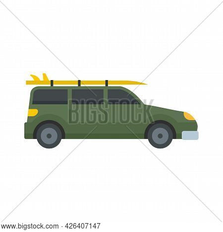 Green Travel Car Icon. Flat Illustration Of Green Travel Car Vector Icon Isolated On White Backgroun