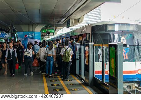 Bangkok, Thailand - March 16, 2017 : Bts Skytrain Train Runs In Bangkok. Many People In Bangkok Used