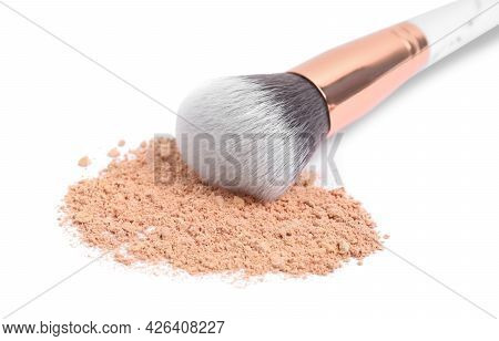 Loose Face Powder And Makeup Brush On White Background